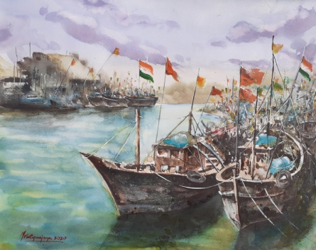 Landscape Watercolor Art Painting title 'Porbander harbor' by artist Mrutyunjaya Dash