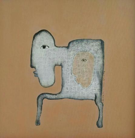contemporary Acrylic Art Painting title 'Untitled 4' by artist Taslim Jamal