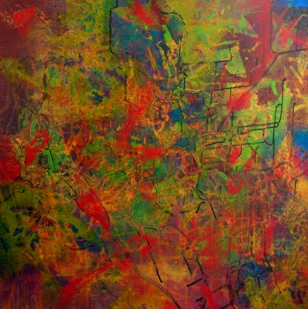 Abstract Acrylic Art Painting title 'Poem Of Colour 1' by artist Aditi Chakravarty