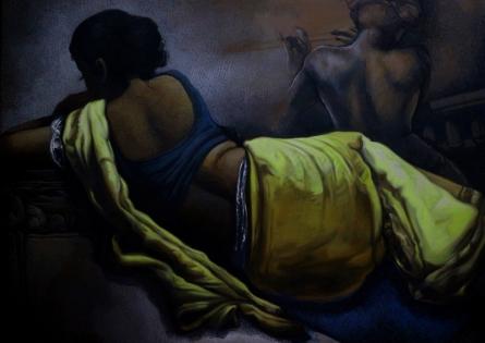 Figurative Acrylic-oil Art Painting title 'Untitled 10' by artist Arya Chowdhury