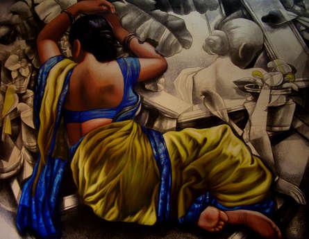 Figurative Acrylic-oil Art Painting title 'Untitled 13' by artist Arya Chowdhury