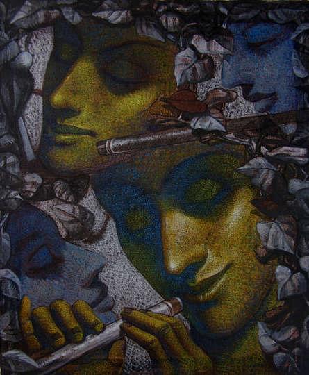 Figurative Mixed-media Art Painting title 'Untitled 2' by artist Arya Chowdhury