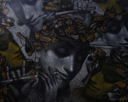 Figurative Mixed-media Art Painting title 'Untitled 6' by artist Arya Chowdhury