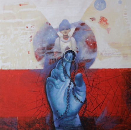 Religious Acrylic Art Painting title 'Blue Hand 17' by artist Ashis Mondal