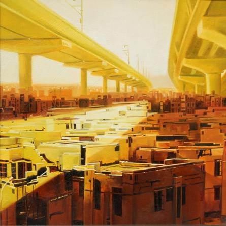 Cityscape Oil Art Painting title 'Lockdown' by artist Bhartti Verma