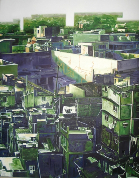 Cityscape Oil Art Painting title 'Materialistic World' by artist Bhartti Verma