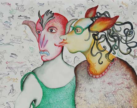 Figurative Watercolor Art Painting title 'Organism' by artist Koustav Nag