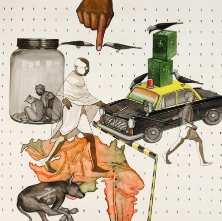 contemporary Watercolor Art Painting title 'Violence An Politican 4' by artist Nandkishor Saindane