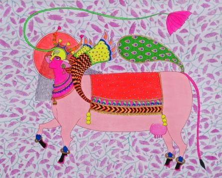 Religious Mixed-media Art Painting title 'Kamadhenu' by artist Priti Singh