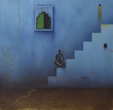 contemporary Acrylic Art Painting title Silent Discussion by artist Nirmal Yadav