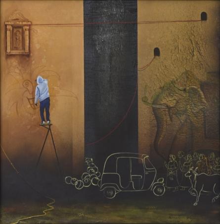 graffiti in mewar,nirmal yadav,mixed media,elephant,auto,brown,wallpainting,man,artist,udaipur,certifiedartist