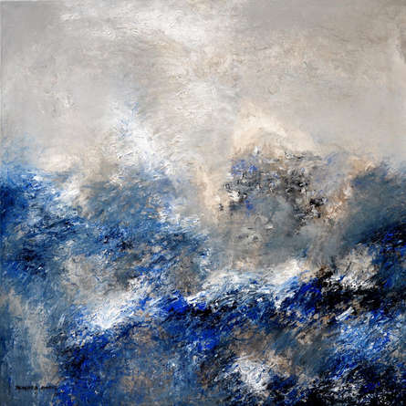 Abstract Acrylic Art Painting title 'Blue Scale 1' by artist Balasaheb Abhang