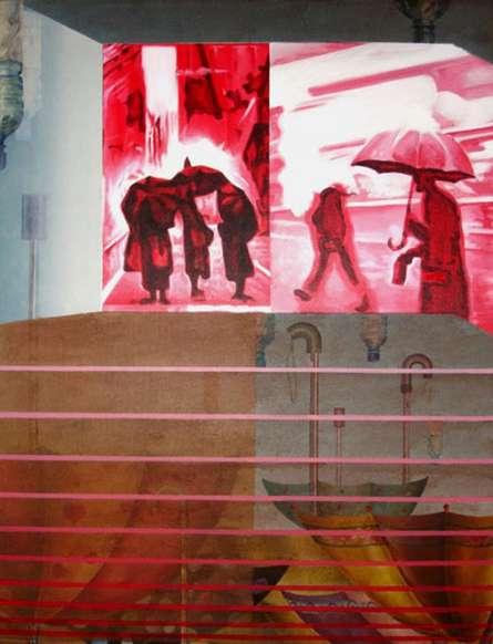 Photorealistic Acrylic Art Painting title 'Umbrella Season' by artist Ajinkya Patil