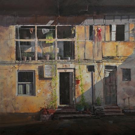 Cityscape Acrylic Art Painting title 'Heritage' by artist Mangesh Shinde