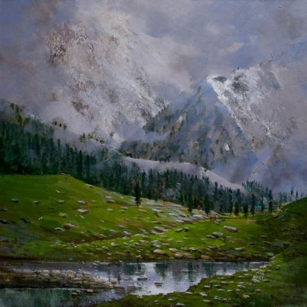 Cityscape Acrylic Art Painting title 'Manali' by artist Mangesh Shinde