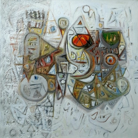 Abstract Acrylic Art Painting title Creation by artist Rajesh Kumar Singh