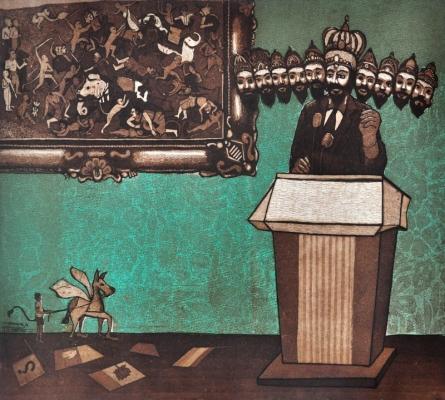 Chandrashekhar Waghmare   Contemporary Ravana Printmaking by artist Chandrashekhar Waghmare   Printmaking Art   ArtZolo.com
