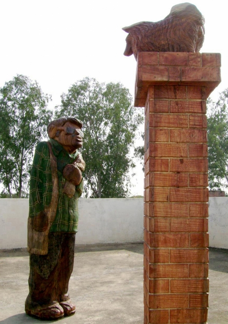 Wood, Paint Sculpture titled 'Is This The Address' by artist Tarun Maity