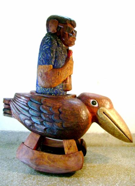 Sheesham Wood Sculpture titled 'Kingfisher' by artist Tarun Maity