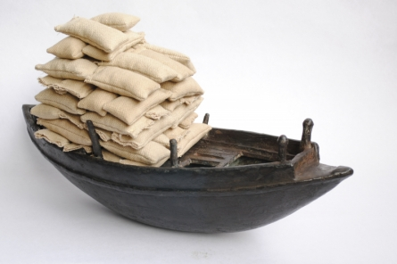 Bronze, Rice Bag Sculpture titled 'Still Life' by artist Tarun Maity