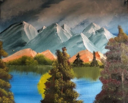 Landscape Oil Art Painting title 'Calm mountains' by artist Anu Dhimaan