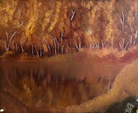 Landscape Oil Art Painting title Dense Forest by artist Anu Dhimaan