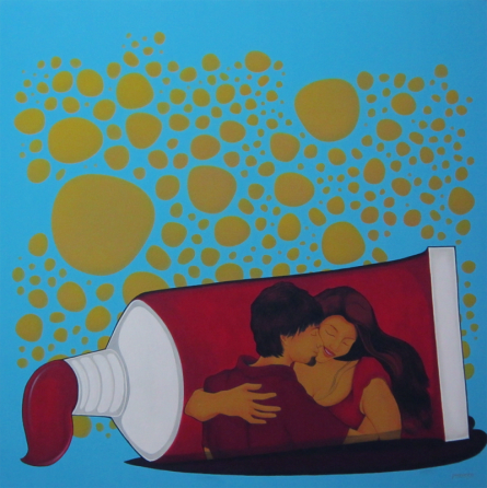 Figurative Acrylic Art Painting title 'Socio Economic Love 3' by artist Praveen Nair