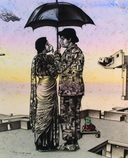 Figurative Acrylic-charcoal Art Painting title 'One Roof Of One World' by artist Satya Vijay Singh