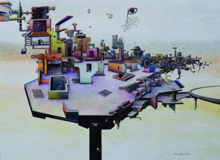 contemporary Acrylic Art Painting title 'One Roof Of One World 4' by artist Satya Vijay Singh