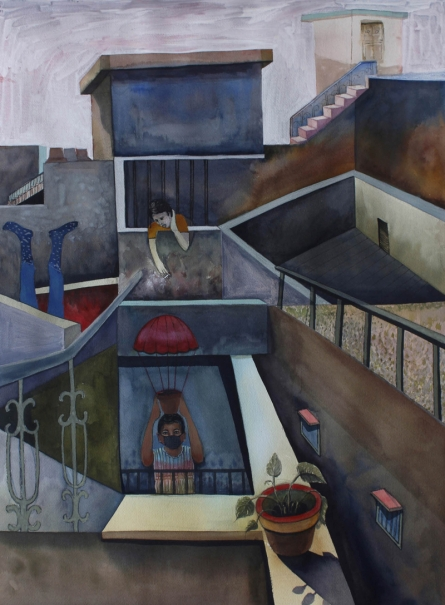 Figurative Mixed-media Art Painting title 'Stories Of Beyond And Inside The Wall' by artist Neeraj Khandka