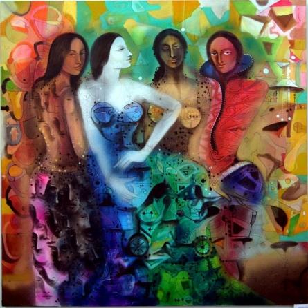 Figurative Acrylic Art Painting title Attitude 1 by artist Madan Lal