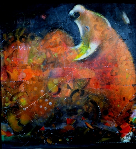 Figurative Acrylic Art Painting title Bull by artist Madan Lal