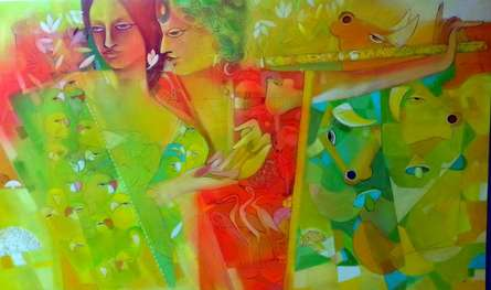 Celebration Enthrall | Painting by artist Madan Lal | acrylic | Canvas