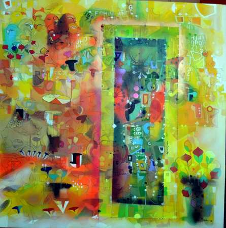 Abstract Acrylic Art Painting title 'City Within' by artist Madan Lal