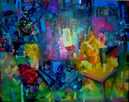 Abstract Acrylic Art Painting title 'Citysape 2' by artist Madan Lal