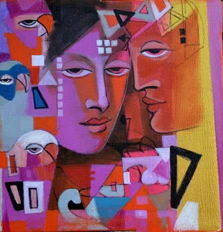 Figurative Acrylic Art Painting title 'Face Within' by artist Madan Lal