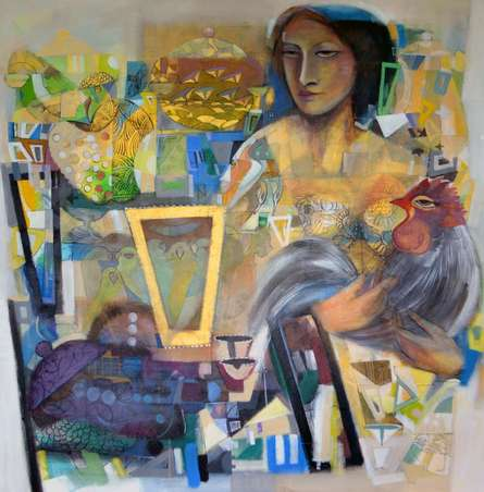 Figurative Acrylic Art Painting title 'Frame 1' by artist Madan Lal