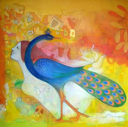 Figurative Acrylic Art Painting title 'Joureny With Peacock' by artist Madan Lal