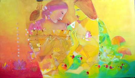 Abstract Acrylic Art Painting title 'Music Within' by artist Madan Lal