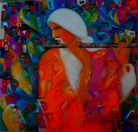 Figurative Acrylic Art Painting title 'Music Within' by artist Madan Lal
