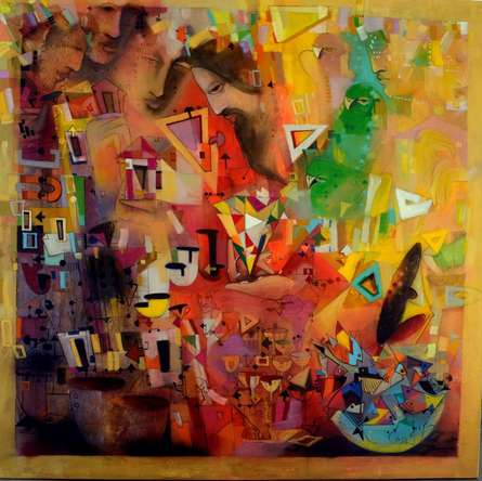 Abstract Acrylic Art Painting title 'Mystic Journey IV' by artist Madan Lal