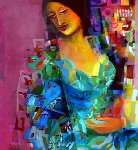 Madan Lal | Acrylic Painting title Pink Square on Canvas | Artist Madan Lal Gallery | ArtZolo.com