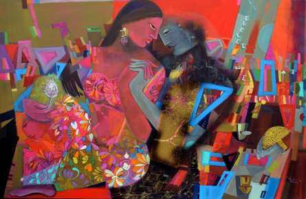 Madan Lal | Acrylic Painting title Swing 4 on Canvas | Artist Madan Lal Gallery | ArtZolo.com