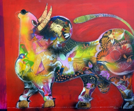 Animals Acrylic Art Painting title The Bull by artist Madan Lal
