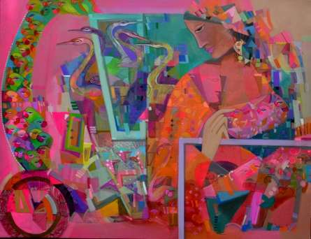 Madan Lal | Acrylic Painting title The Pink 42 on Canvas
