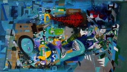 Madan Lal | Acrylic Painting title Urban Emotion 15 on Canvas | Artist Madan Lal Gallery | ArtZolo.com