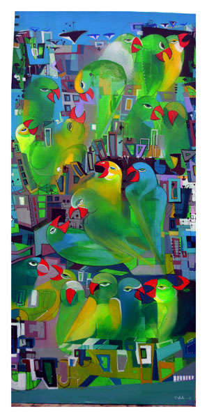 Urban Noise 6 | Painting by artist Madan Lal | acrylic | Canvas