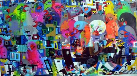 Madan Lal | Acrylic Painting title Urban Noise 14 on Canvas | Artist Madan Lal Gallery | ArtZolo.com