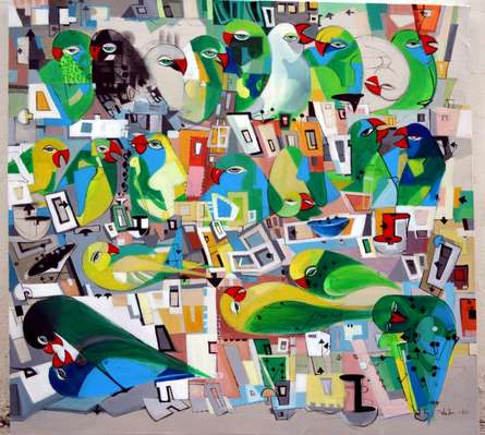 Urban Noise I   Painting by artist Madan Lal   acrylic   Canvas