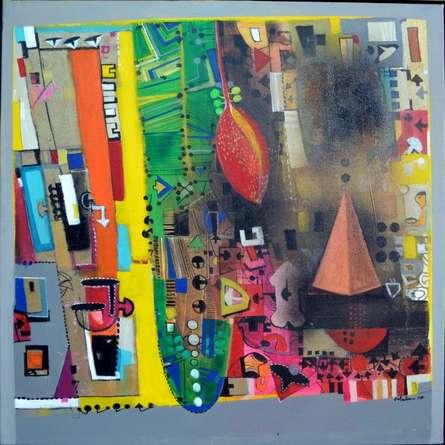 Urban Phulkari 8 | Painting by artist Madan Lal | acrylic | Canvas